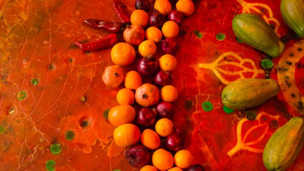 Art with Fruits and wax at Alusi Ephemeral Art Berlin