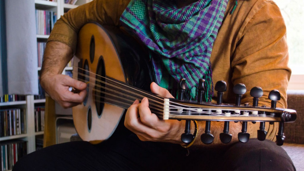 Recording the lute for the audiobook music of Moments of Happiness