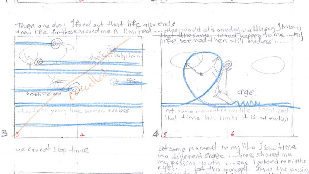 Moments of Happiness sketching the page layout